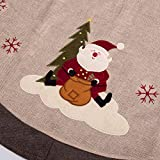 "iPEGTOP 42"" Burlap Rustic Christmas Tree Skirt - Classic Holiday Decorations Woodland Santa Snawflake Embroidery - Begie Brown Rim"