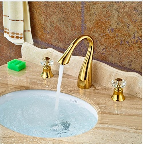 Gowe Widespread Double Crystal Handles Deck Mounted Basin Faucet Vessel Sink Tap Mixer Faucet 3