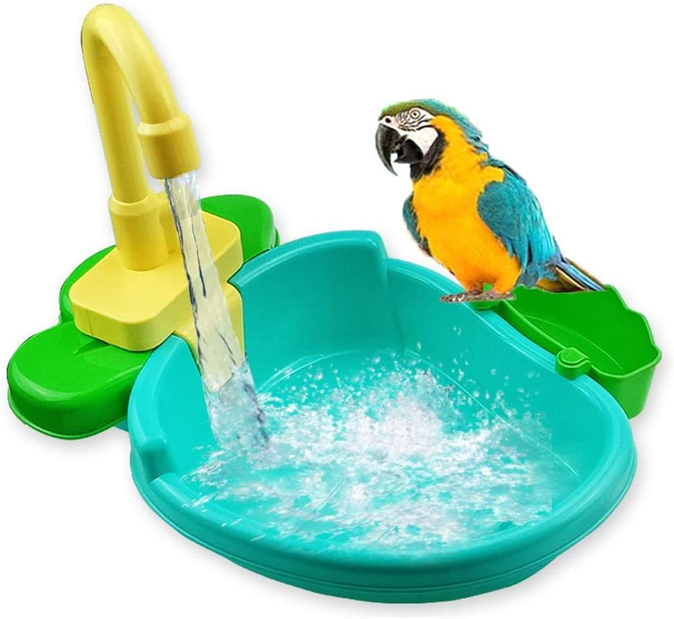 Brillie Bañera para pájaros, bañera para Loros con Grifo, comedero para pájaros, Cuenco para Loros pequeños, Periquito, Periquito, cacatúa, Conure, pinzón de agapornis, Canario, Gris Africano