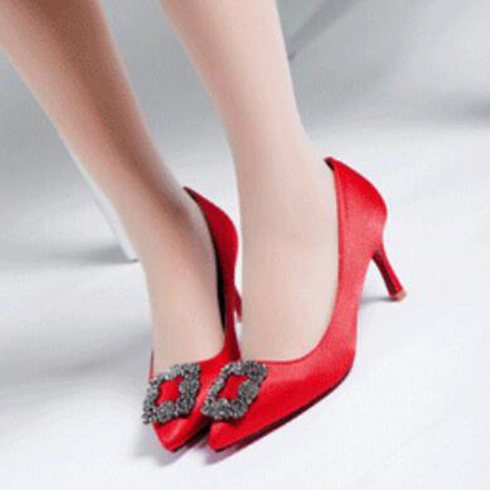 YR-R Arbeitsschuhe Neue Frühling Herbst High Heels Stilettos Sexy Schuhe Strass Quadrat Tasten Flacher Mund Gericht Schuhe Sexy Pumps Für Arbeit Party Dating ROT c19dd0