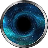 "12"" Porthole Instant Outer Space Ship Window View BLACK HOLE #1 SILVER Wall Sticker Kids Decal Room Home Art Décor Graphic SMALL"