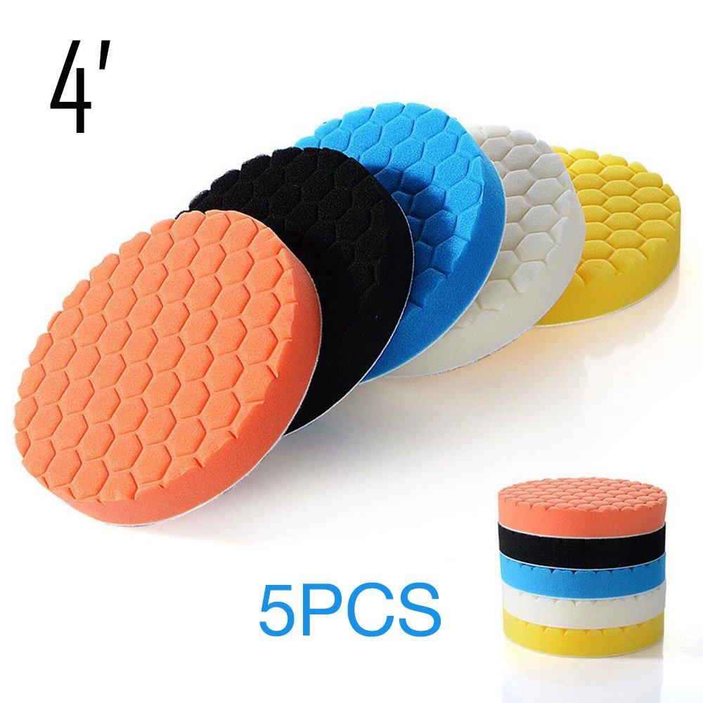 Sedeta® 5pcs 6 pollici Pastiglie per lucidatura auto Kit di spugne per lucidatura per la pulizia del lavaggio del tampone del lucidatore per levigatrice per auto