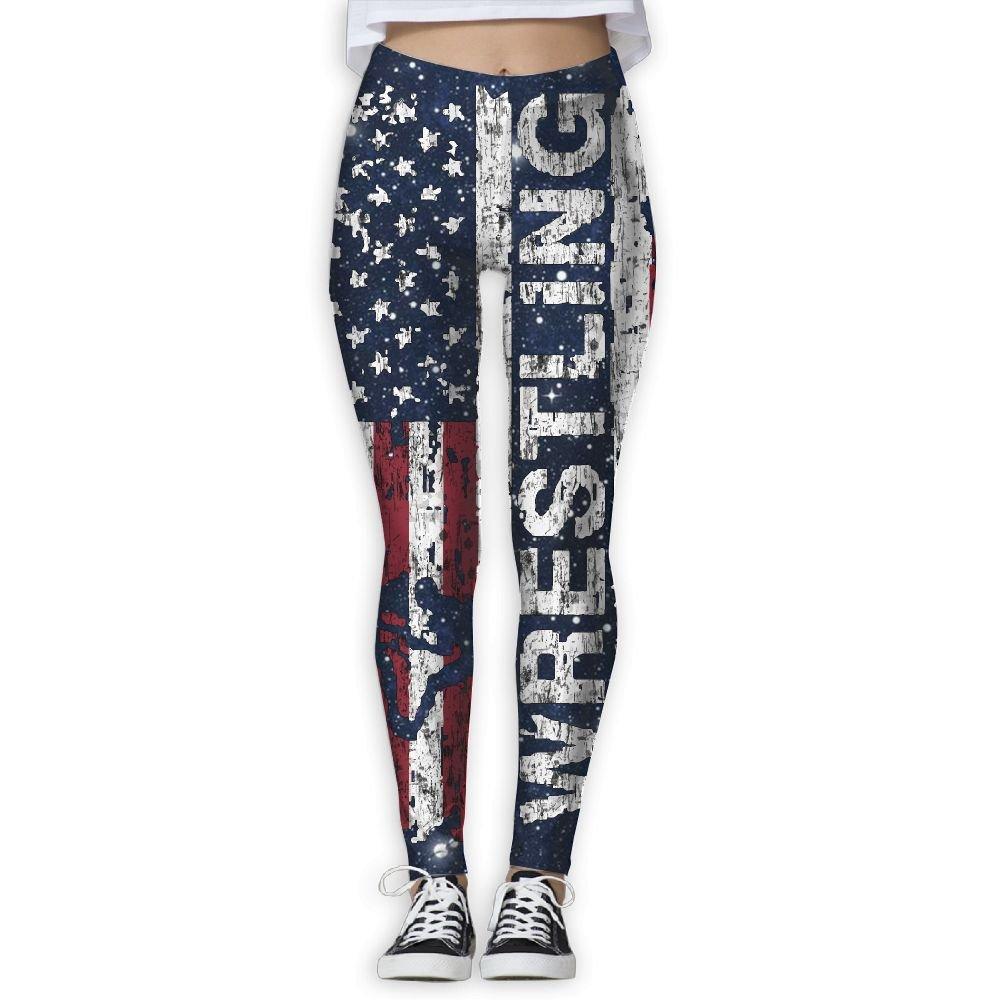 WomensPowerYogaPants USA Flag Wrestling Ladies Yoga Pants Fitness Power Flex Leggings Digital Printed by WomensPowerYogaPants