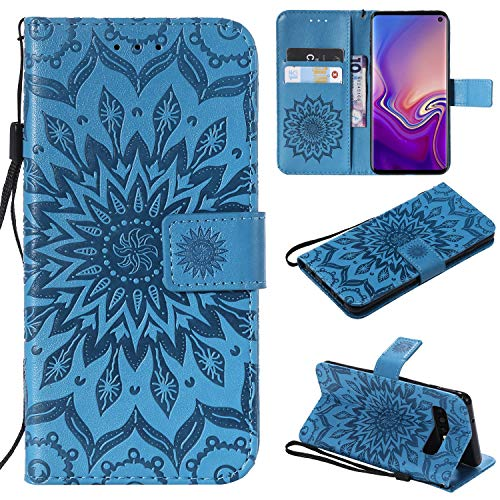Price comparison product image NOMO Galaxy S10 Case, Samsung S10 Wallet Case, Galaxy S10 Flip Case PU Leather Emboss Mandala Sun Flower Folio Magnetic Kickstand Cover with Card Slots for Samsung Galaxy S10 Blue