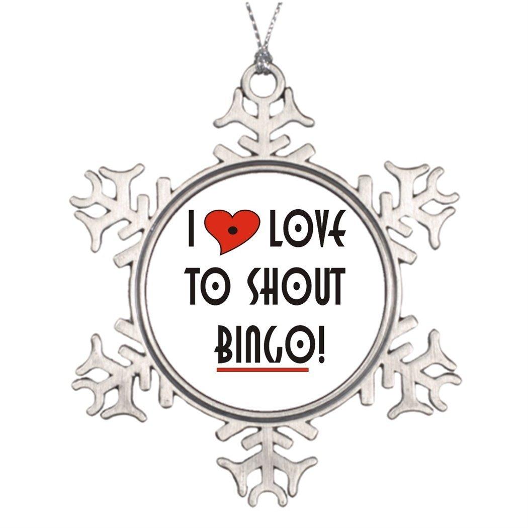 Sedlockyvq Xmas Trees Decorated I Love To Shout Bingo Customized Snowflake Ornaments by Sedlockyvq