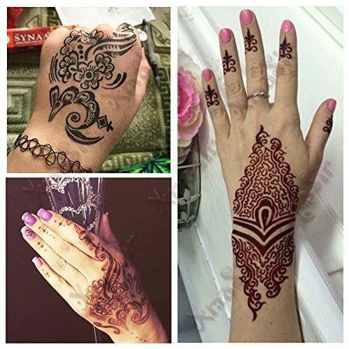 Xmasir 8 piezas estilo indio mano pie tatuaje de henna plantilla ...