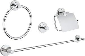 GROHE 40776001 Essentials Master Bathroom Accessories Set 4-in-1, Starlight Chrome
