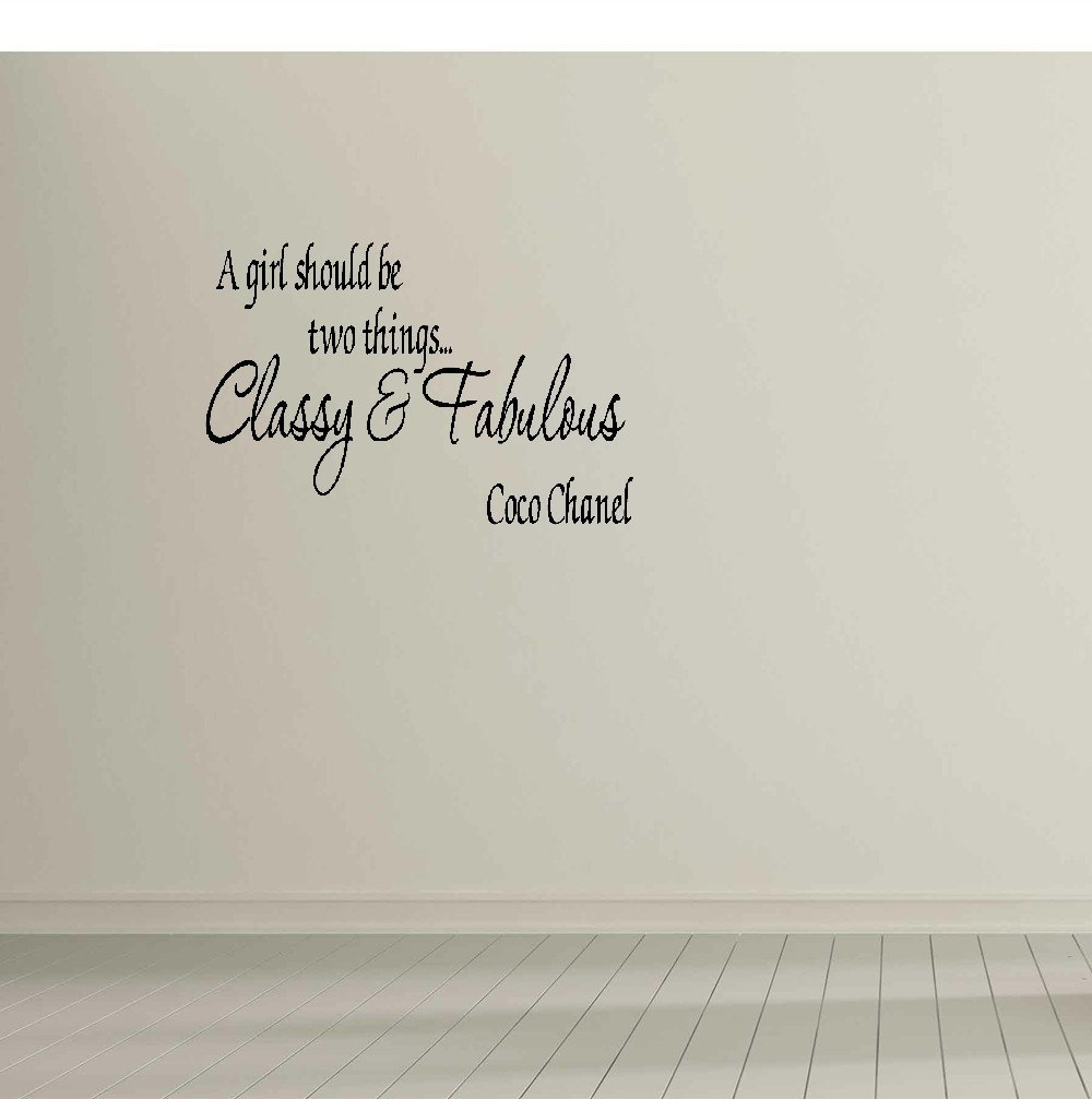 Amazon com vfdxg wall stickers a girl should be two thing classy fabulous coco chanel wall quote wall decals wall decals quotes home kitchen