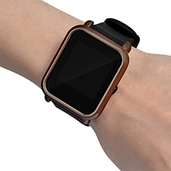 Malloom Ultra-Delgada Marco Caso PC Cubierta Proteger Shell Funda para xiaomi huami amazfit bip smartwatch (Café)