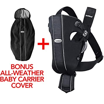 Amazon.com   Baby Bjorn Original Baby Carrier with All Weather Baby Cover -  Infant Newborn Toddler Ergonomic Carrier - Front Carry Positions - Black    Baby e8200b93f5