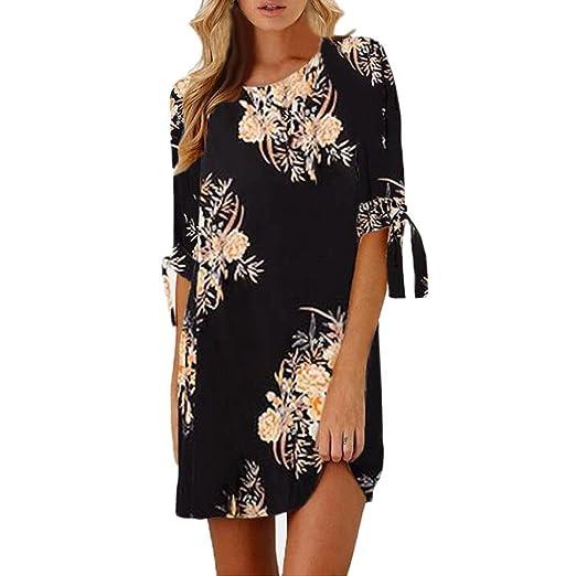 8cf5519b1286 Sinma Women Vintage Floral Printed Mini Dress Short Sleeve Tie Party Dress  (S