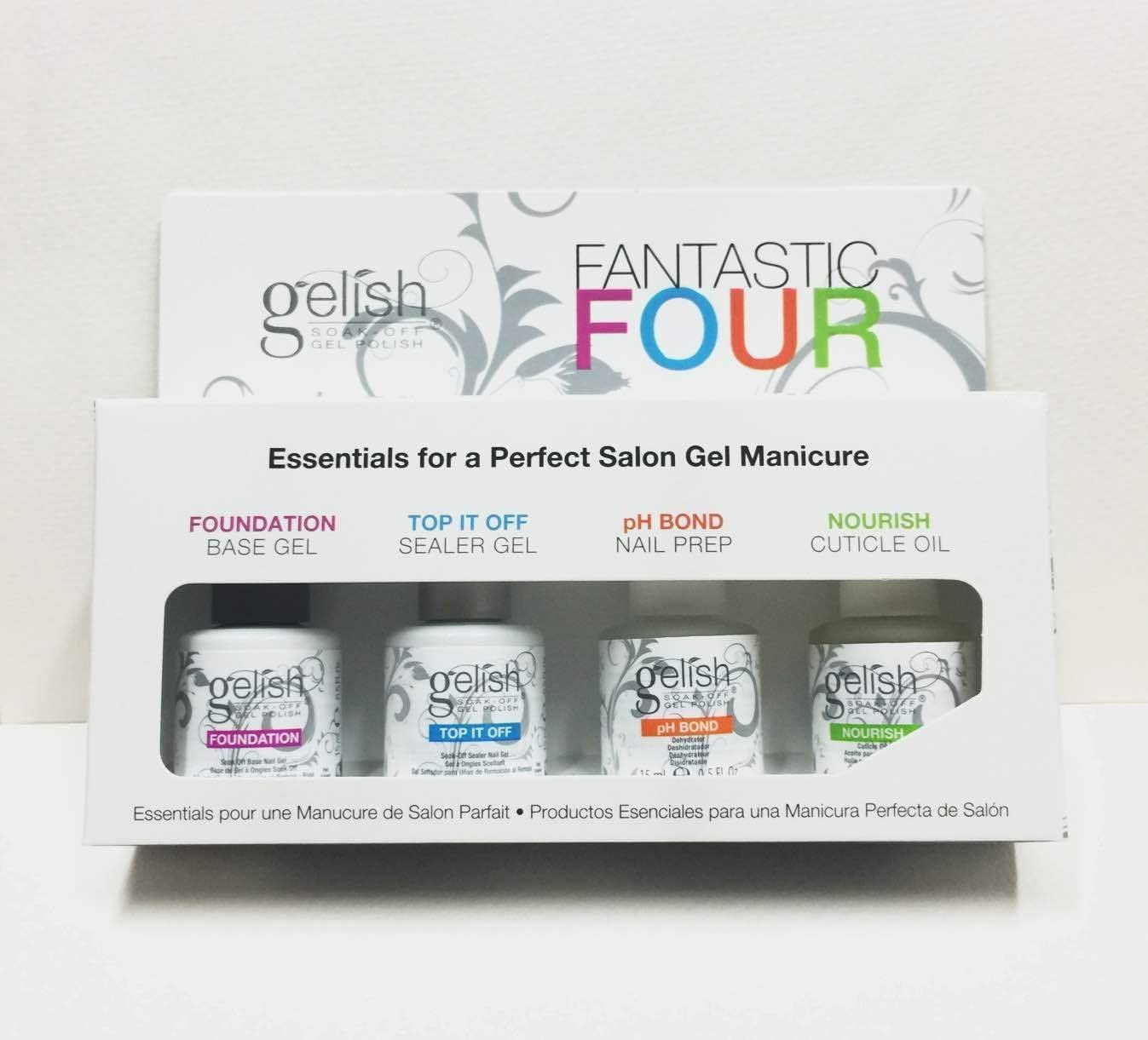 Kit de manicura Fantastic Four de Harmony Gelish con 4 botes de 15 ml de base/sellador/deshidratador/nutriente