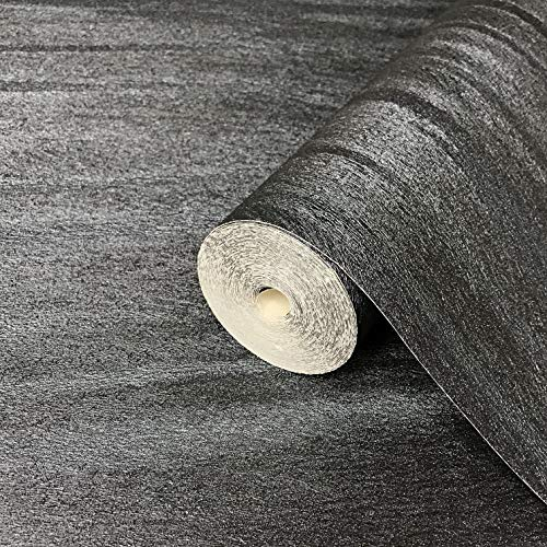 76 sq.ft Rolls Made in Italy Portofino Textured Unique Luxury Italian Wall coverings Modern Embossed Vinyl Wallpaper Charcoal Black Metallic Silver wallcovering Lines Animal Print Faux Fur Pattern 3D ()