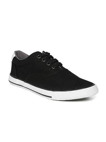 Roadster Men Black Canvas Shoes (9UK)