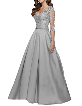 0c89fc23697 vimans Long Sleeve Prom Dresses for Women Beading Formal Party Gown Beads  Size 2 Gray