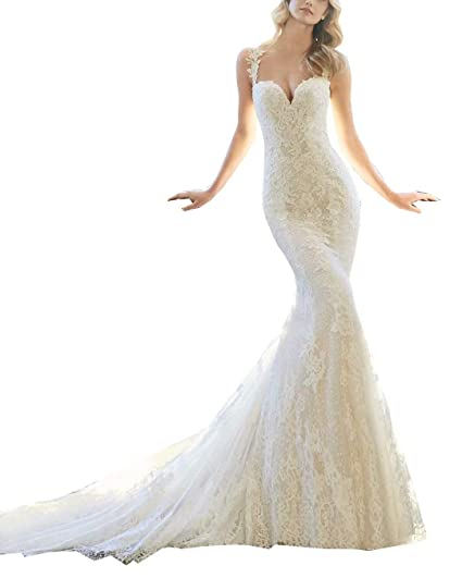 62537e8499 Women s Strap V Neck Lace Appliques Mermaid Wedding Dress Illusion Back  Bridal Gown Ivory