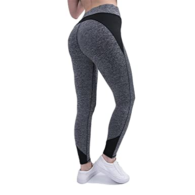 178fe2083cdeb7 mewow Women's Yoga Leggings Quick Dry Fitness High Waist Stretchy Comfy  Workout Pants (S,