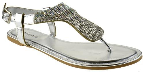 82f8d289a90d BAMBOO Aveno 42s Womens Rhinestone Embellished Thong Flat Sandals Silver 8.5