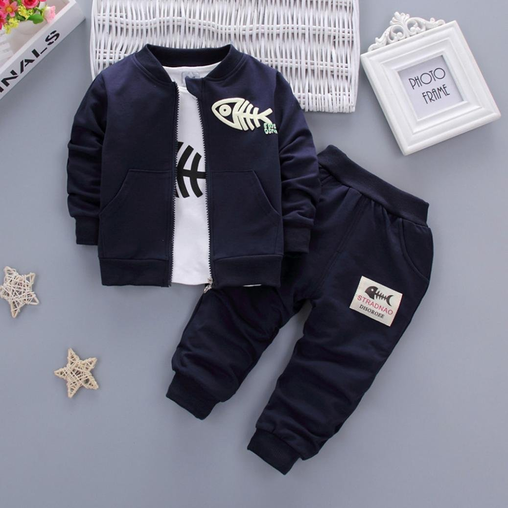 b9f1ce8e2 Amazon.com: For 0-3 Years Old Kids, Toddler Baby Boys Winter Zipper Fish  Coat+T-Shirt+Pants Outfits 3Pcs Clothes Set: Clothing