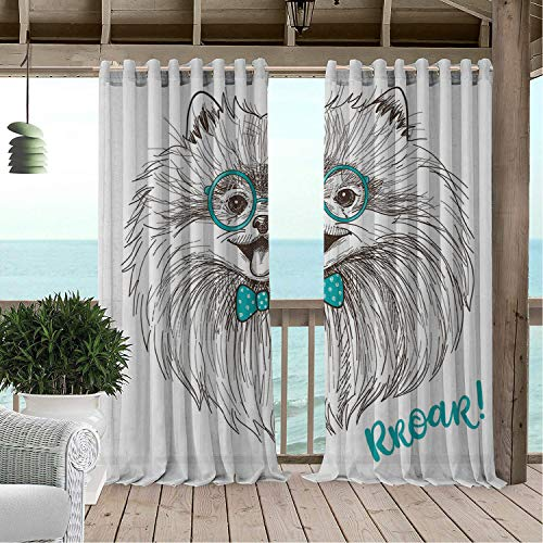 Outdoor Waterproof Curtain Pomeranian Sketch of a Cute Little Puppy Bow and Round Glasses Turquoise Dark Brown and White Porch Grommets Decor Curtain 108 by 72 inch