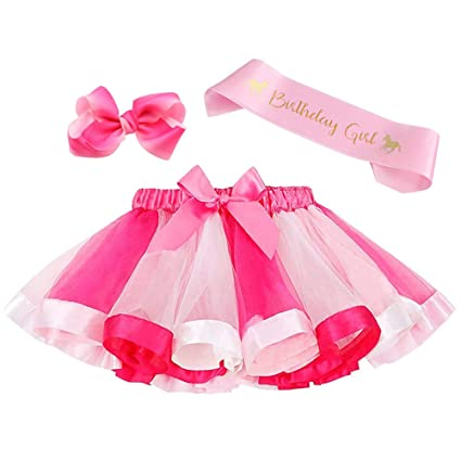 6916e34bedad8 Image Unavailable. Image not available for. Color: Layered Rainbow Tutu  Skirt Costumes Set with Hair Bows Clips and Satin Sash for Girls Birthday