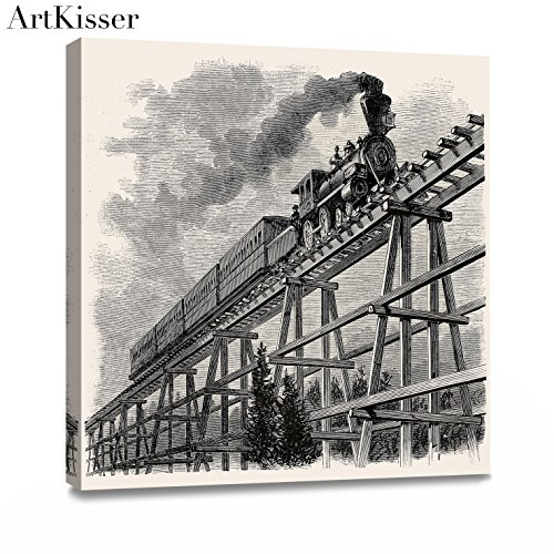 (ArtKisser Old Train with Gray Smoke Steam Trains in Progress Wall Art Painting The Picture Print On Poster Canvas Car Pictures Wall Art for Home Decor Decoration Gift 12