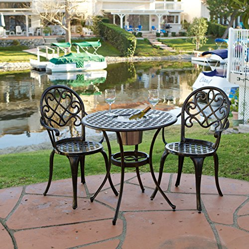 Palermo 3 pcsCast Aluminum Outdoor Bistro Set w/ Ice Bucket (Bistro For Sets Sale)