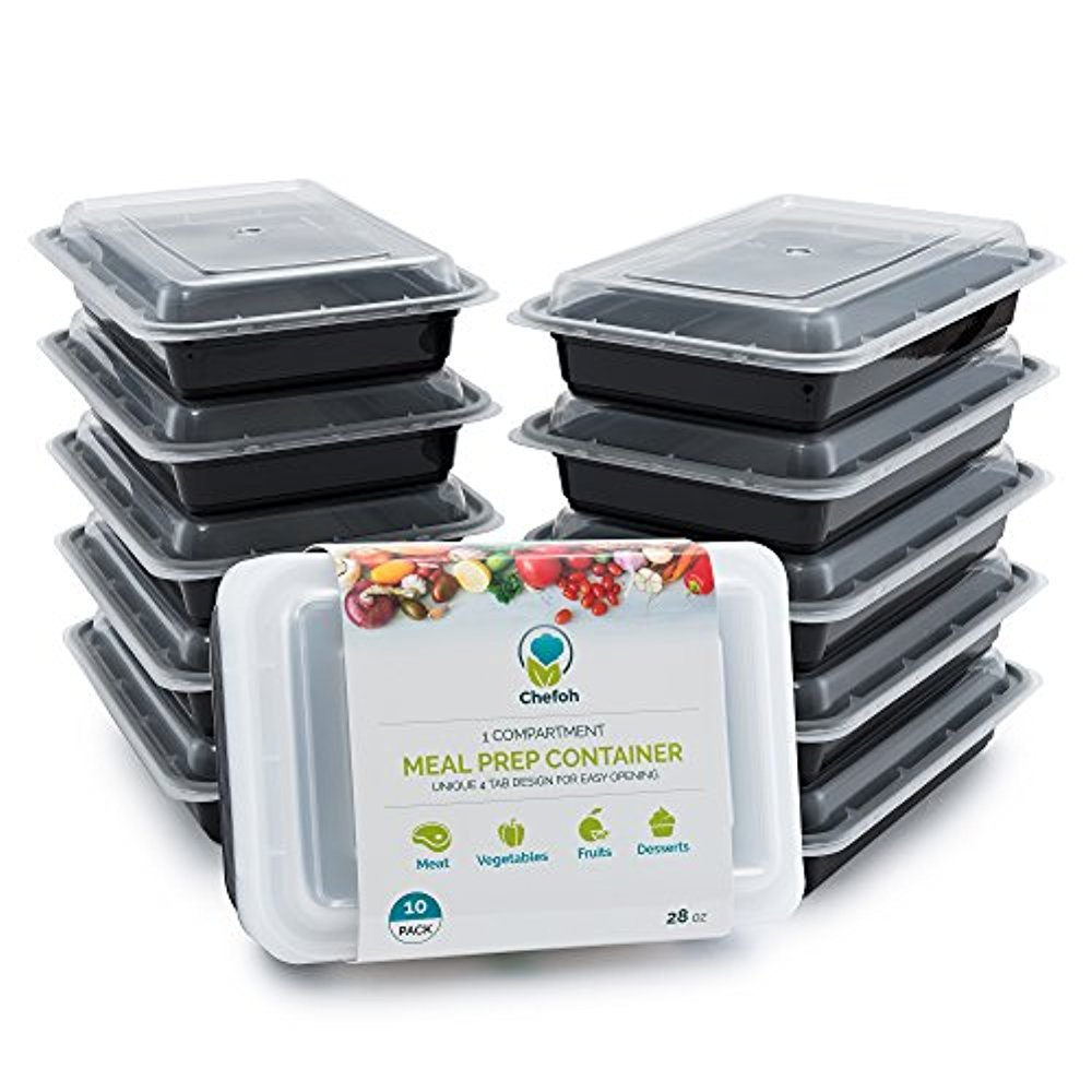Single Compartment Meal Prep Containers with Lids, 28 oz | Reusable Microwavable Food Storage Containers (10) UnAssigned CH-212