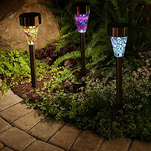 Outdoor solar garden lights 3 pack mosaic solar powered stake outdoor solar garden lights 3 pack mosaic solar powered stake lights solar garden stake landscape lights workwithnaturefo