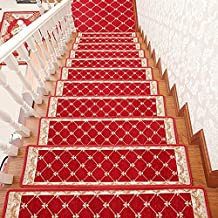 yazi Red Strip Stair Treads Carpet Morden Mats Skid-Resistant Rubber Backing Non-Slip Carpet Stair Treads-Machine Washable Area Rug,10x29.5 inch Set of 13
