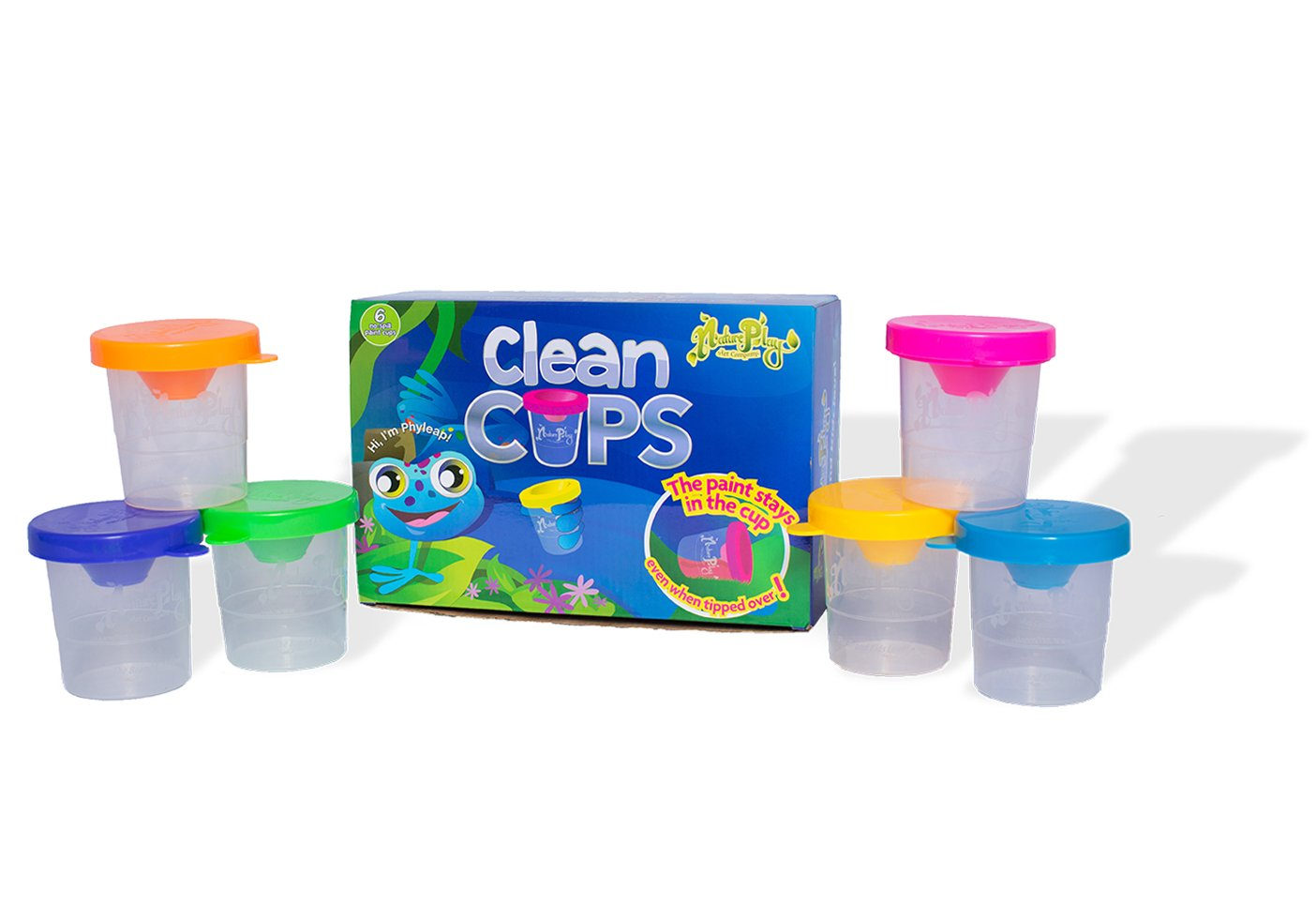 NaturePlay Clean Cups - No Spill Paint Cups With Lids (6 Pack, Neon Colors)