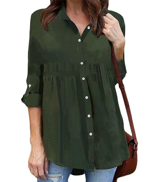 8b27bfa4991 Etecredpow Women s Roll Up Sleeve Pleated Blouse Chiffon Button Front Shirts  Army Green XXS