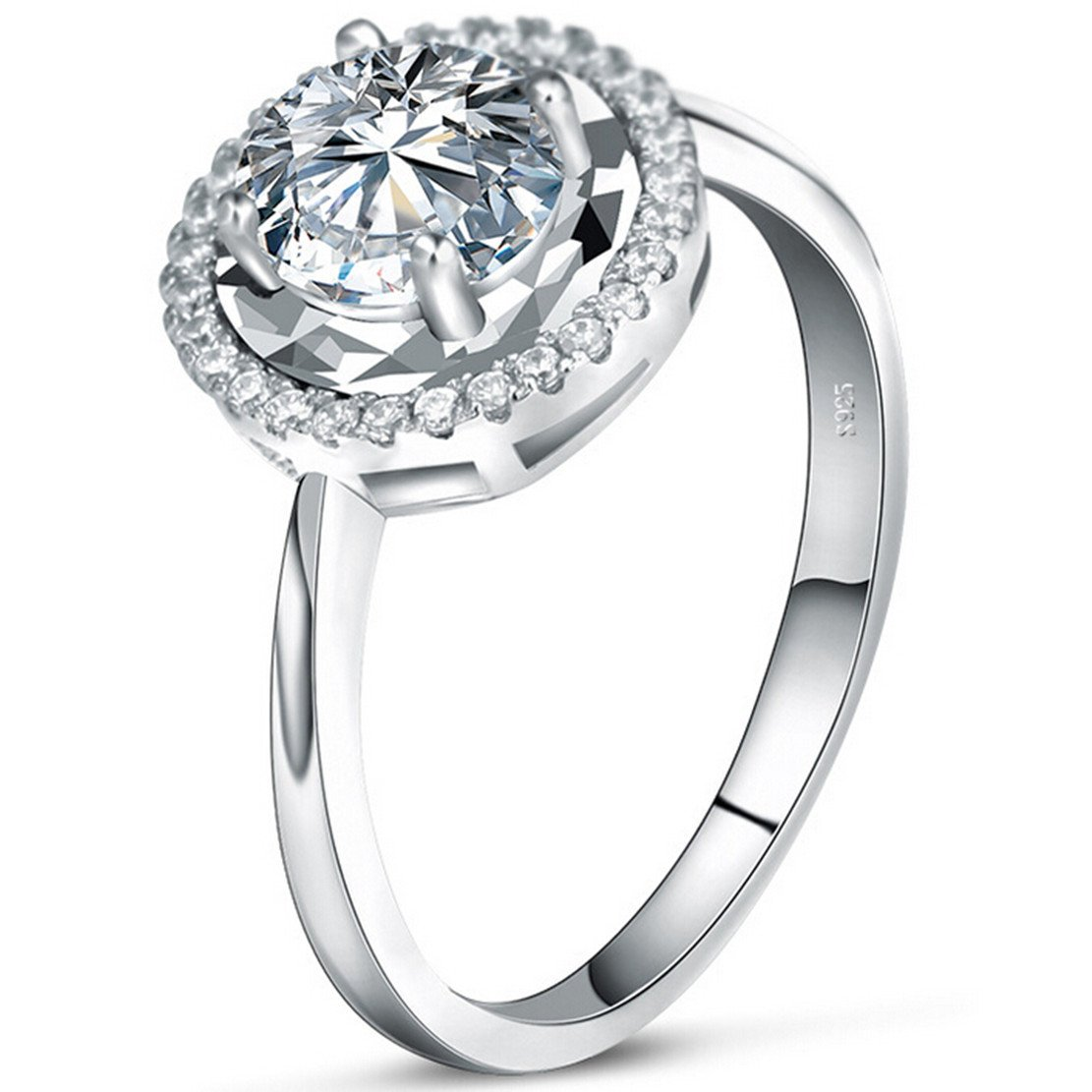 Silver Masters Women's Fine Statement Rings 925 Sterling Silver Rings Highest Quality CZ Cubic Zirconia Size 7