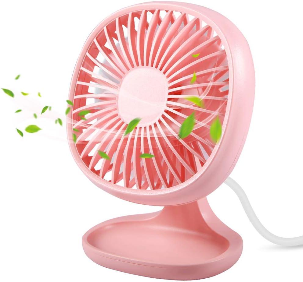 Small Desk fan,TekHome Personal Mini USB Fan,Office Desktop Fan,Quiet Fan for Home Bedroom,4 Inch,Pink.
