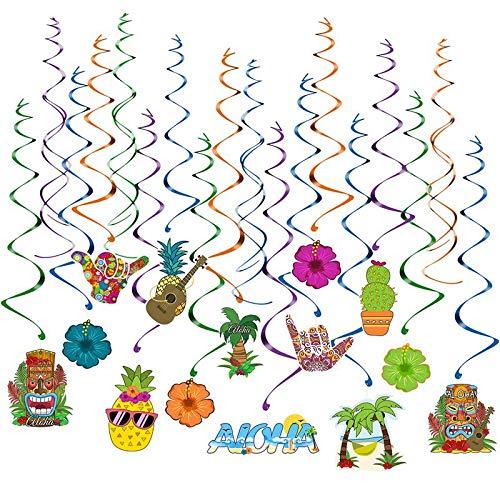 Party Diy Decorations - 30 Pcs Pendant Hanging Ornament Hawaii Luau Tropical Tiki Swirl Whirligig Decoration Evening - Decorations Party Party Decorations Tiki Totem Hawaiian Luau Garland Ha
