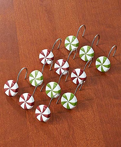 Set Of 12 Peppermint Candy Shower Hooks