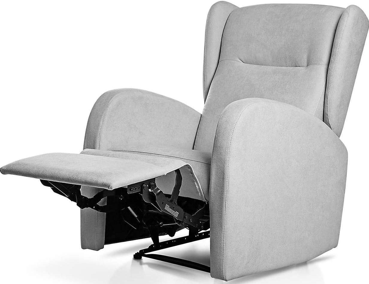 Sillón Relax orejero Home reclinable con Pared Cero tapizado en Tela Antimanchas Tela Gris Plata