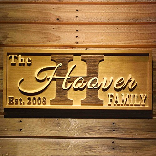 ADVPRO wpa0369 Big Initial Family Name Personalized Anniversary with Established Year Gifts Wood Engraved Wooden Sign - Standard 23