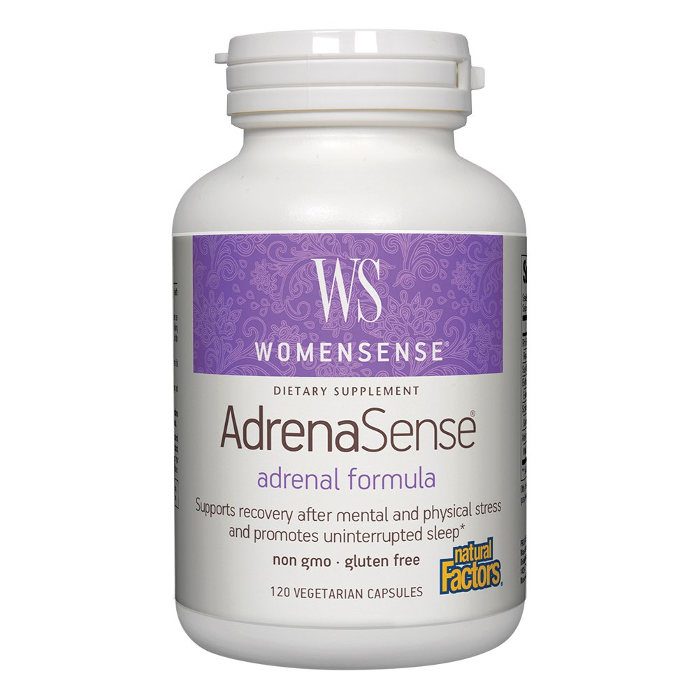 Natural Factors - WomenSense AdrenaSense, Support for Healthy Cortisol Levels, Stress Response, and Uninterrupted Sleep with Ashwagandha & Rhodiola, Gluten Free, Non-GMO, 120 Vegetarian Capsules