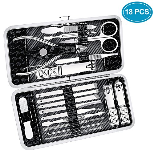Manicure Pedicure Set Nail Clippers - Ucio 18 Pieces Stainless Steel Manicure Kit,Pedicure Kit, Professional Hygiene Kit Nail Tools with Portable Travel Case