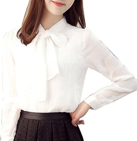 Causal Camisa Tops para Mujer Manga Larga con Pajarita Estilo Camiseta Y Blusa Camisetas De Gasa Blanco 3XL: Amazon.es: Deportes y aire libre