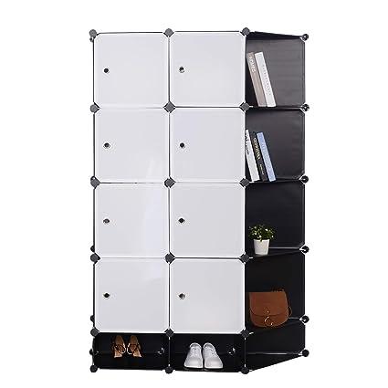 Woltu Sr0089sw Armoire Plastique Chambre Faite De Modules Pour Le Stockage De Vêtements Accessoires Jouets Livres Chaussures 12 Cubes Blanc Noir