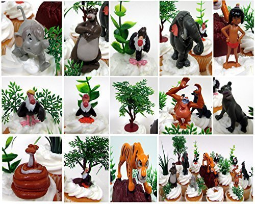 """Price comparison product image DISNEY JUNGLE BOOK 20 Piece Birthday Cupcake Topper Set Featuring Mowgli and Jungle Friends and Decorative Themed Accessories - Figures Average 1.5"""" to 2.5"""""""