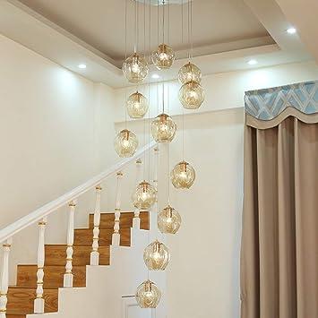 Lámpara de escalera dúplex Villa moderna de construcción hueca Lámpara de araña grande Bolas de cristal Luces colgantes Lámpara de escalera giratoria Lámpara de araña larga, 12 bolas, 50x250cm: Amazon.es: Hogar
