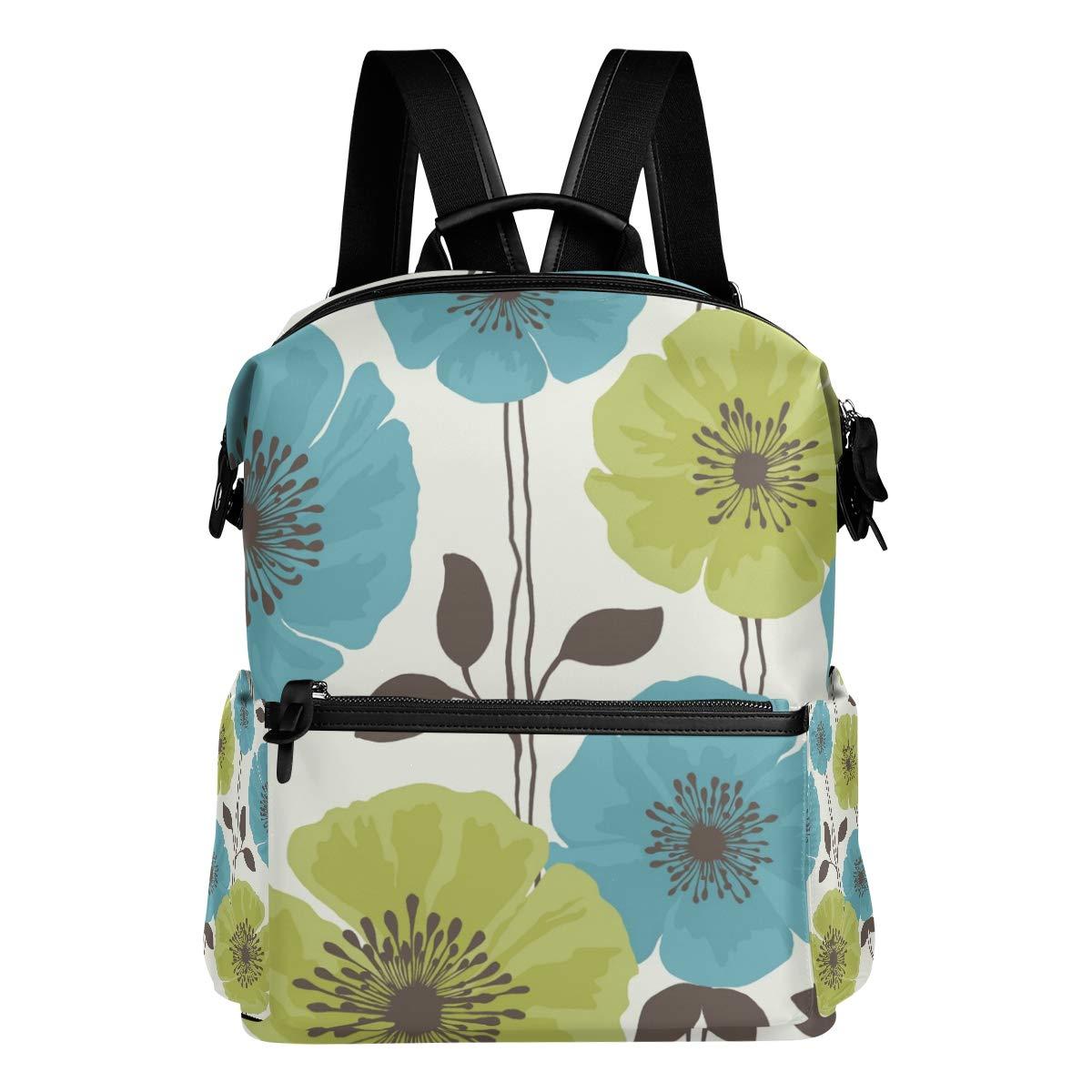 FAJRO - Zaino da viaggio con motivo floreale, colore  foglia di tè