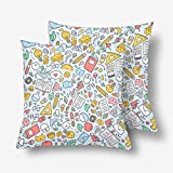 InterestPrint Funny School Supply Pillowcase Throw Pillow Covers 18x18 Set of 2, Pillow Sham Cases Protector for Home Couch Sofa Bedding Decorative