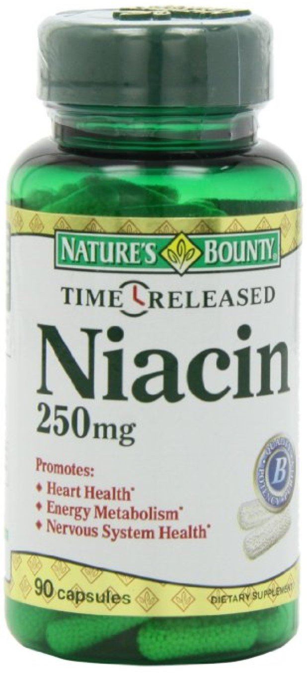 Nature's Bounty Natural Time Release Niacin 250 mg Capsules 90 ea (Pack of 8)