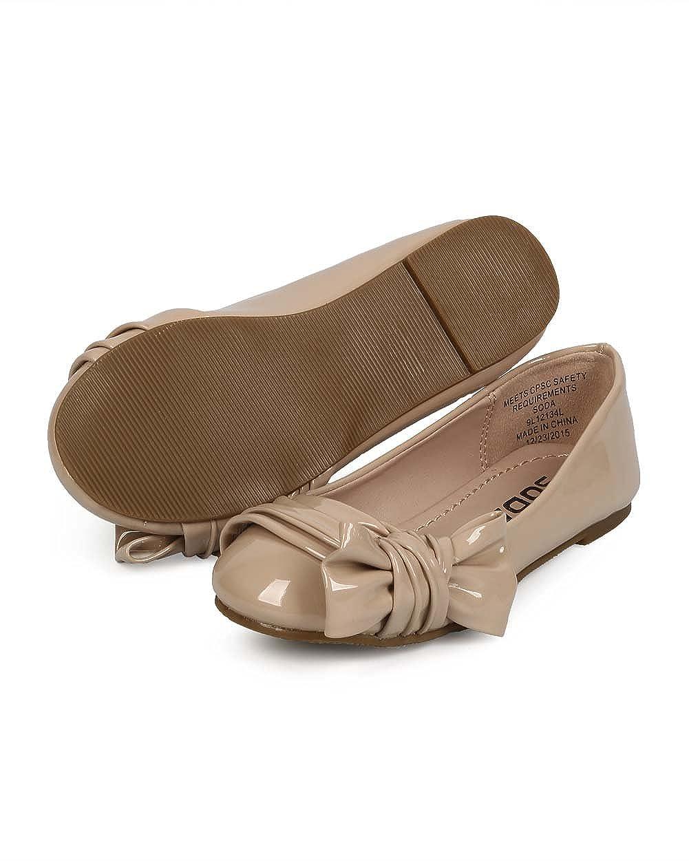 Patent Round Toe Slip On Bow Ballet Flat Dark Beige Toddler//Little Girl//Big Girl EF39