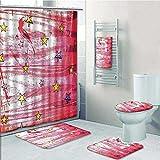 aolankaili Designer Bath Polyester 5-Piece Bathroom Set, Luminous Stars Over GrungeStyle Background Solar Celestial Theme Print Bathroom Rugs Shower Curtain/Rings and Both Towels(Medium Size)