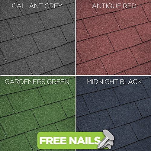 GroundMaster Roofing Felt Shingles Shed & Summerhouse Tiles Square Butt 4...